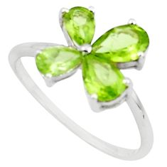 2.27cts natural green peridot 925 sterling silver ring jewelry size 6.5 p73351