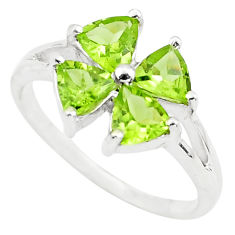 3.42cts natural green peridot 925 sterling silver ring jewelry size 6.5 p73375