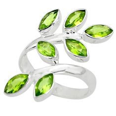 12.62cts natural green peridot 925 sterling silver ring jewelry size 8.5 p77641