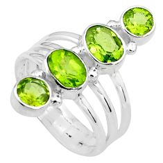 4.55cts natural green peridot 925 sterling silver ring jewelry size 8 p77706