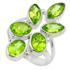 10.37cts natural green peridot 925 sterling silver ring jewelry size 6.5 p77734