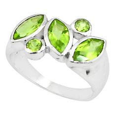 6.03cts natural green peridot 925 sterling silver ring jewelry size 5.5 p81534