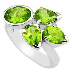 7.07cts natural green peridot 925 sterling silver ring jewelry size 7.5 p81653