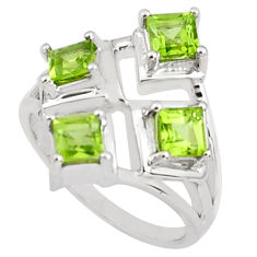 2.28cts natural green peridot 925 sterling silver ring jewelry size 6.5 p81732