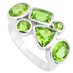 6.58cts natural green peridot 925 sterling silver ring jewelry size 6.5 p82809
