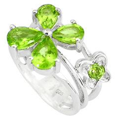 5.30cts natural green peridot 925 sterling silver ring jewelry size 7.5 p82836