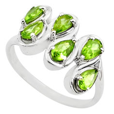 4.30cts natural green peridot 925 sterling silver ring jewelry size 7.5 p82856