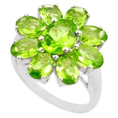 8.54cts natural green peridot 925 sterling silver ring jewelry size 6.5 p82975