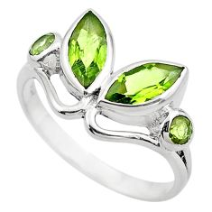 3.93cts natural green peridot 925 sterling silver ring jewelry size 7 p83014