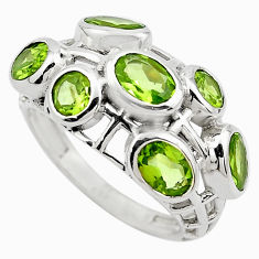 6.26cts natural green peridot 925 sterling silver ring jewelry size 7 p83121