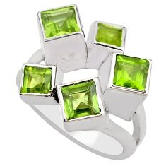 3.67cts natural green peridot 925 sterling silver ring jewelry size 8.5 p83157