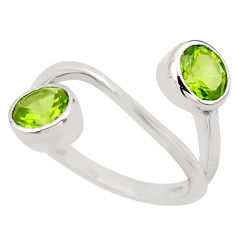 3.13cts natural green peridot 925 sterling silver ring jewelry size 5.5 p83235