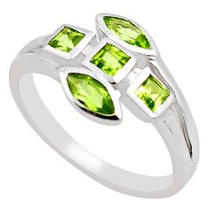 2.81cts natural green peridot 925 sterling silver ring jewelry size 8.5 p83290