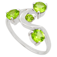 3.29cts natural green peridot 925 sterling silver ring jewelry size 5.5 p83323