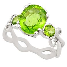 5.54cts natural green peridot 925 sterling silver ring jewelry size 7.5 p83347