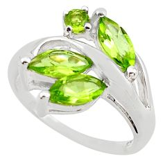 4.84cts natural green peridot 925 sterling silver ring jewelry size 7 p83396