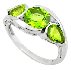 6.39cts natural green peridot 925 sterling silver ring jewelry size 5.5 p83474