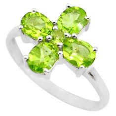 4.29cts natural green peridot 925 sterling silver ring jewelry size 8.5 p83537