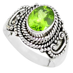 3.01cts natural green peridot 925 sterling silver solitaire ring size 7.5 p51137