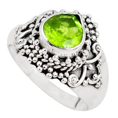 2.95cts natural green peridot 925 sterling silver solitaire ring size 6.5 p51140