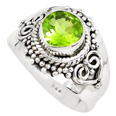 3.11cts natural green peridot 925 sterling silver solitaire ring size 7.5 p51141