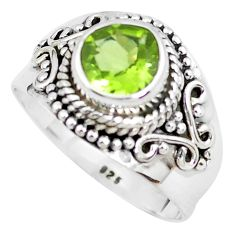 2.94cts natural green peridot 925 sterling silver solitaire ring size 8 p51159