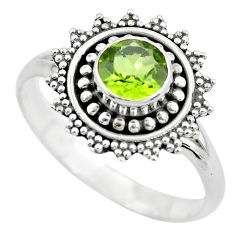 1.29cts natural green peridot 925 sterling silver solitaire ring size 9 p61863