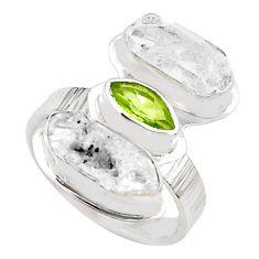 11.46cts natural green peridot herkimer diamond 925 silver ring size 8 p70887