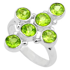 5.95cts natural green peridot round 925 silver holy cross ring size 7.5 p77669