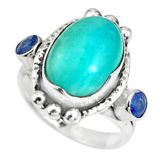 7.36cts natural green peruvian amazonite 925 silver ring size 6.5 p69890