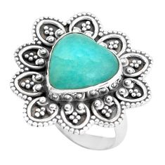 6.83cts natural green peruvian amazonite 925 silver solitaire ring size 7 d32002