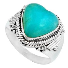 5.77cts natural green peruvian amazonite 925 silver solitaire ring size 8 d32089