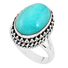 6.54cts natural green peruvian amazonite 925 silver solitaire ring size 7 p56516