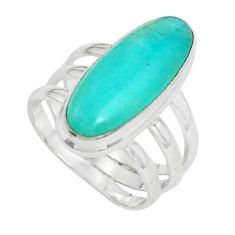 6.57cts natural green peruvian amazonite 925 silver solitaire ring size 7 p61896