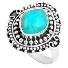 4.29cts natural green peruvian amazonite 925 silver solitaire ring size 7 p63183