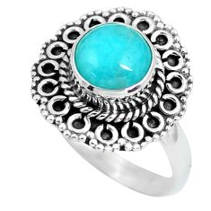 3.32cts natural green peruvian amazonite 925 silver solitaire ring size 8 p63301