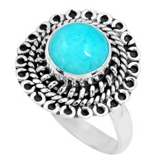3.19cts natural green peruvian amazonite 925 silver solitaire ring size 7 p63302