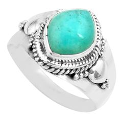 4.30cts natural green peruvian amazonite 925 silver solitaire ring size 8 p71671