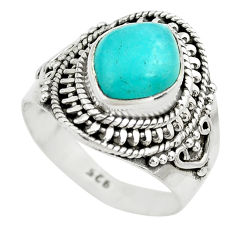 4.40cts natural green peruvian amazonite 925 silver solitaire ring size 7 p71803