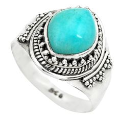 4.52cts natural green peruvian amazonite 925 silver solitaire ring size 7 p71807