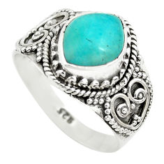 4.40cts natural green peruvian amazonite 925 silver solitaire ring size 8 p71810
