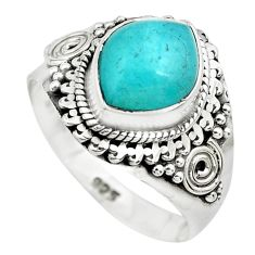 4.49cts natural green peruvian amazonite 925 silver solitaire ring size 8 p71813