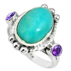 7.72cts natural green peruvian amazonite oval 925 silver ring size 8.5 p69910