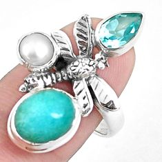 6.76cts natural green peruvian amazonite silver dragonfly ring size 8.5 p42604