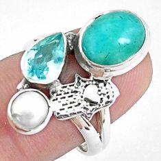 Natural green peruvian amazonite silver hand of god hamsa ring size 7.5 p42606