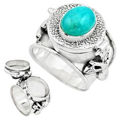 4.19cts natural green peruvian amazonite silver poison box ring size 7.5 p75619