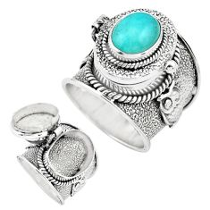 4.74cts natural green peruvian amazonite silver poison box ring size 7.5 p75624