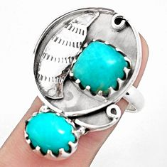 10.74cts natural green peruvian amazonite silver ring jewelry size 8 p42387