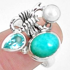 6.96cts natural green peruvian amazonite silver scorpion ring size 7.5 p42602