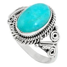 3.82cts natural green peruvian amazonite silver solitaire ring size 6.5 d32069